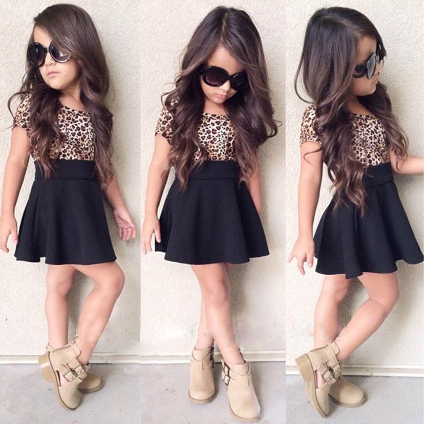 2020 Summer dresses For Girls Party dress  Kids Baby Girls Leopard Printing Short Sleeveless Dress Clothes  Princess Dress   m12