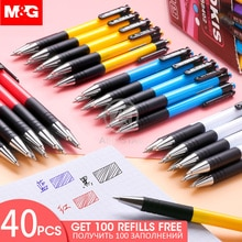 M & G 20/40 pièces stylo à bille rétractable 0.7mm avec 100 recharges bleu noir rouge stylo à bille stylos pour fournitures de bureau scolaire
