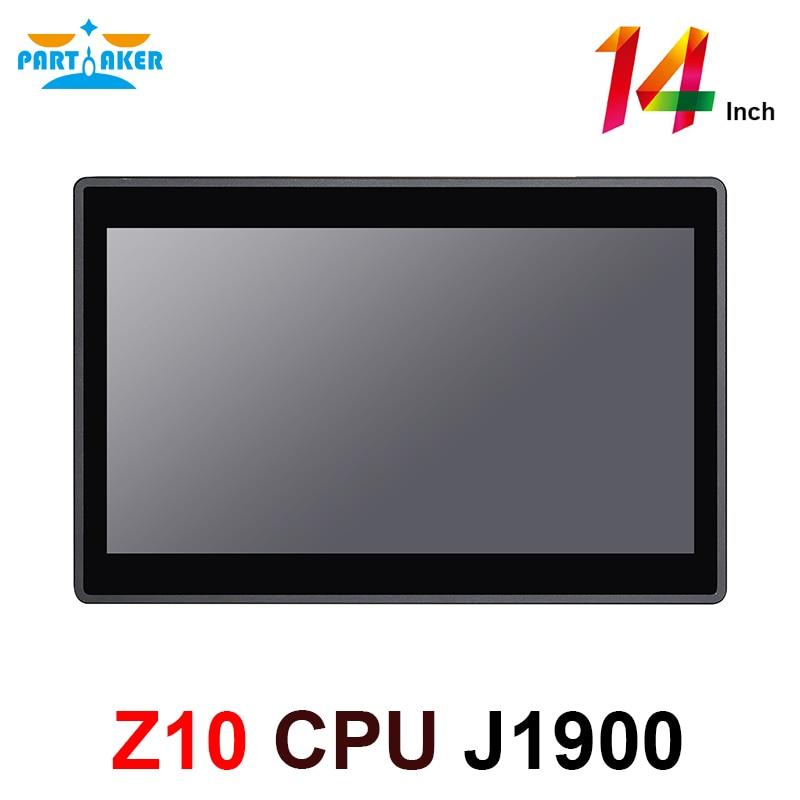 Встроенный сенсорный экран Z10, 14 дюймов, ПК с четырехъядерным процессором Intel J1900, встроенный все в одном ПК, 2 Гб ОЗУ 32 Гб SSD