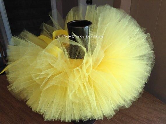 Lindo bebé amarillo Tutu Faldas niñas tul Fluffy faldas de Ballet Pettiskirts luciendo tutús con cinta arco niños traje de fiesta faldas de tela