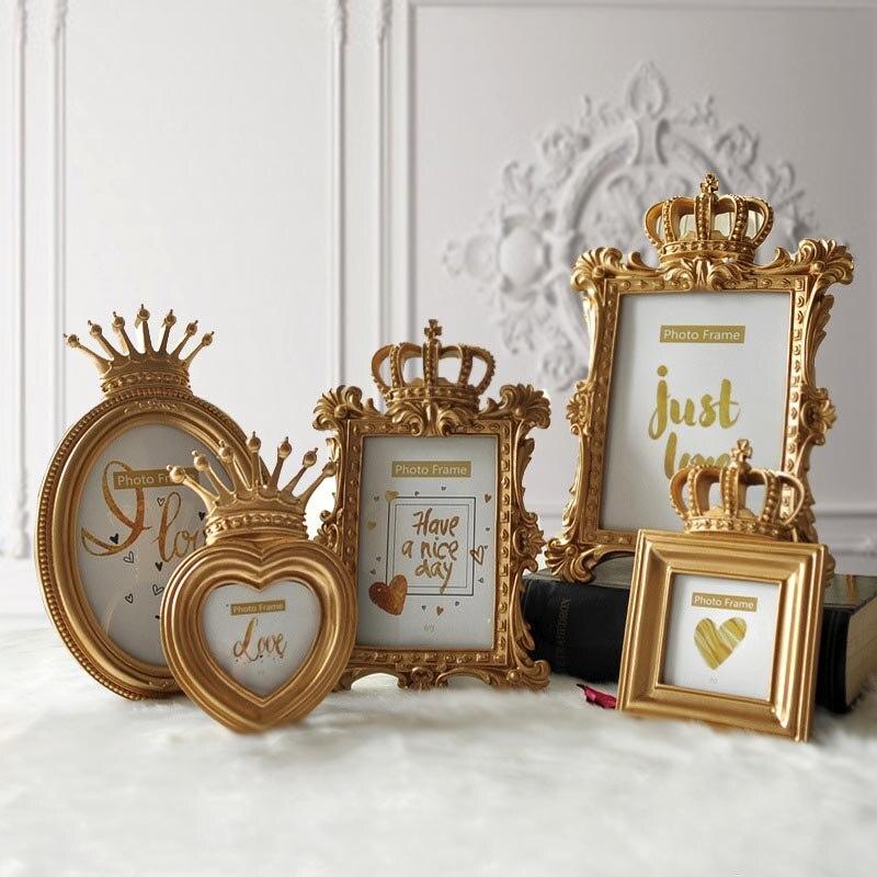 1 pieza 5 modelo de lujo estilo barroco corona de oro decoración cuadro de resina creativa marco para escritorio marco de fotos regalo para amigo