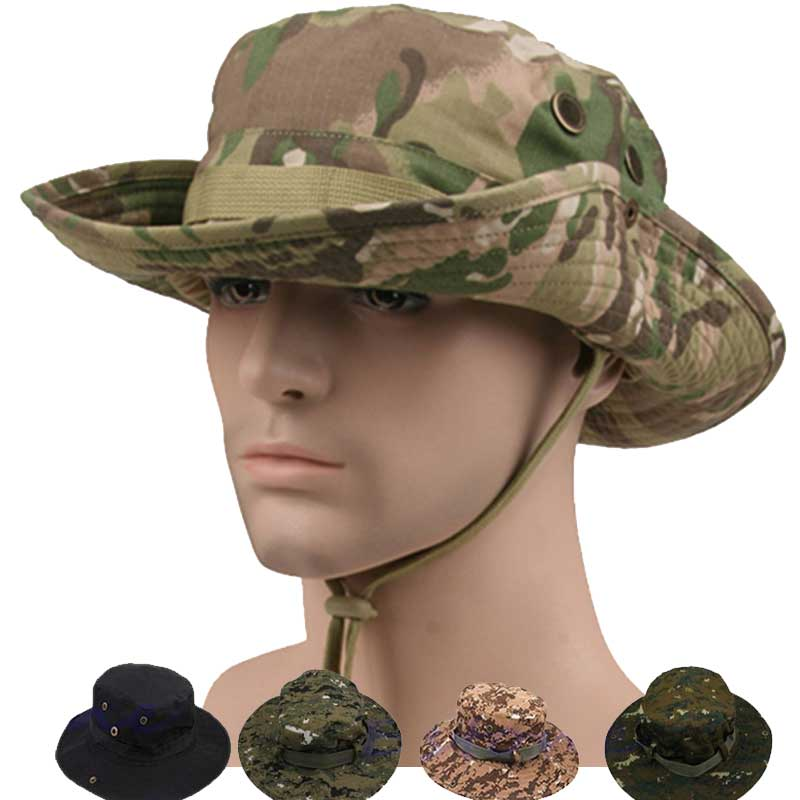 Tactical Airsoft Jagd Military Hut Armee Camouflage Boonie Hüte Marine Angeln Camping Sniper Baumwolle Damen Herren Kappe