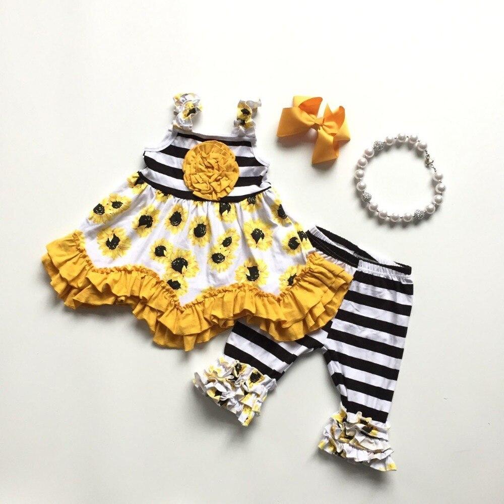Vêtements dété pour petites filles   Robe tournesol jaune, tenue dété, noir blanc, stripee, ensembles boutique pour enfants avec accessoires, printemps