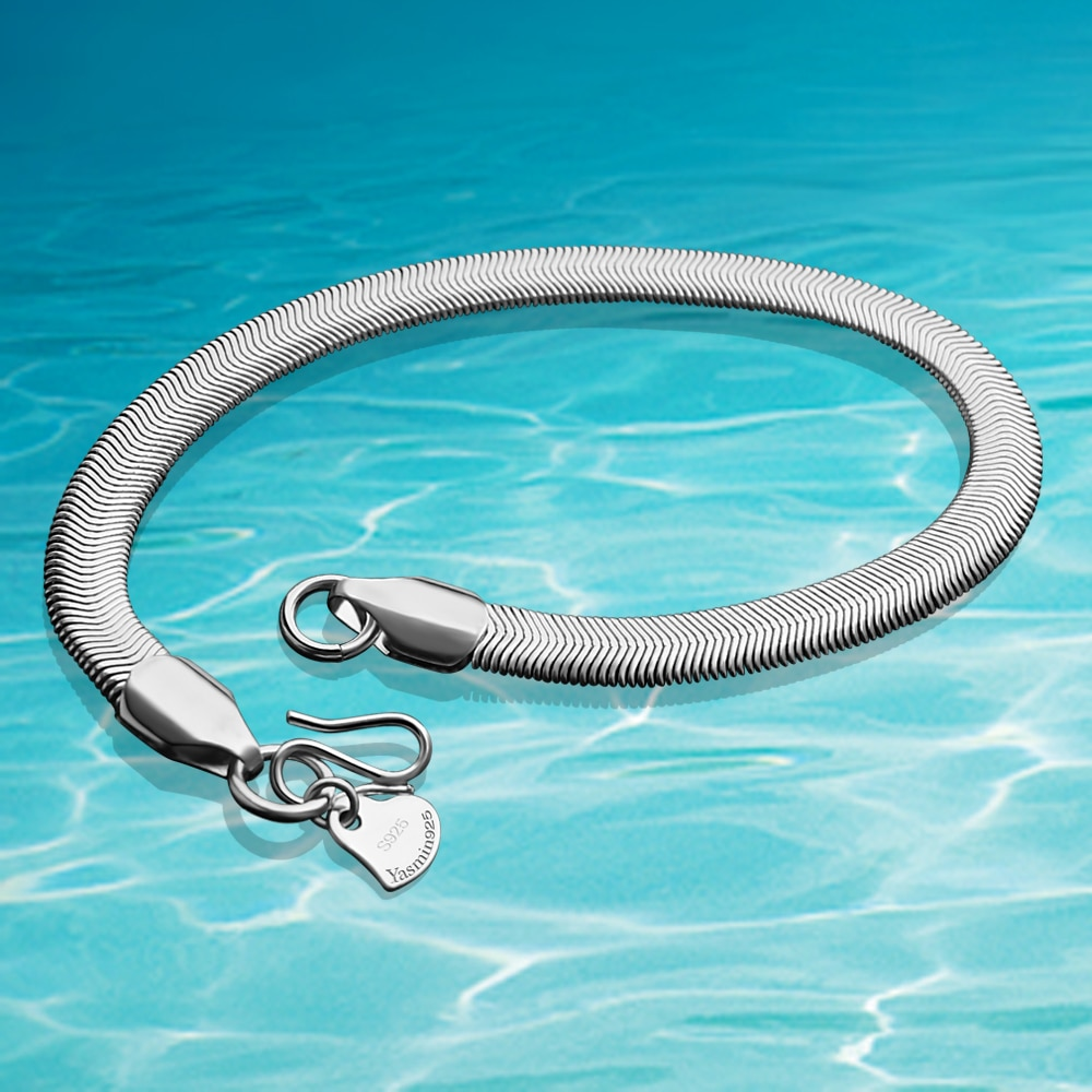 ¡Gran oferta! Pulsera de plata de ley 925 para hombre, cadena de serpiente de hueso de joyería de moda; Suave y suave. Estilo de moda forma plana