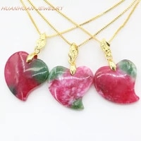 heart shape pendant for women 22mm red natural stone jades chalcedony atainless steel chain necklace pendants diy jewelry b3351