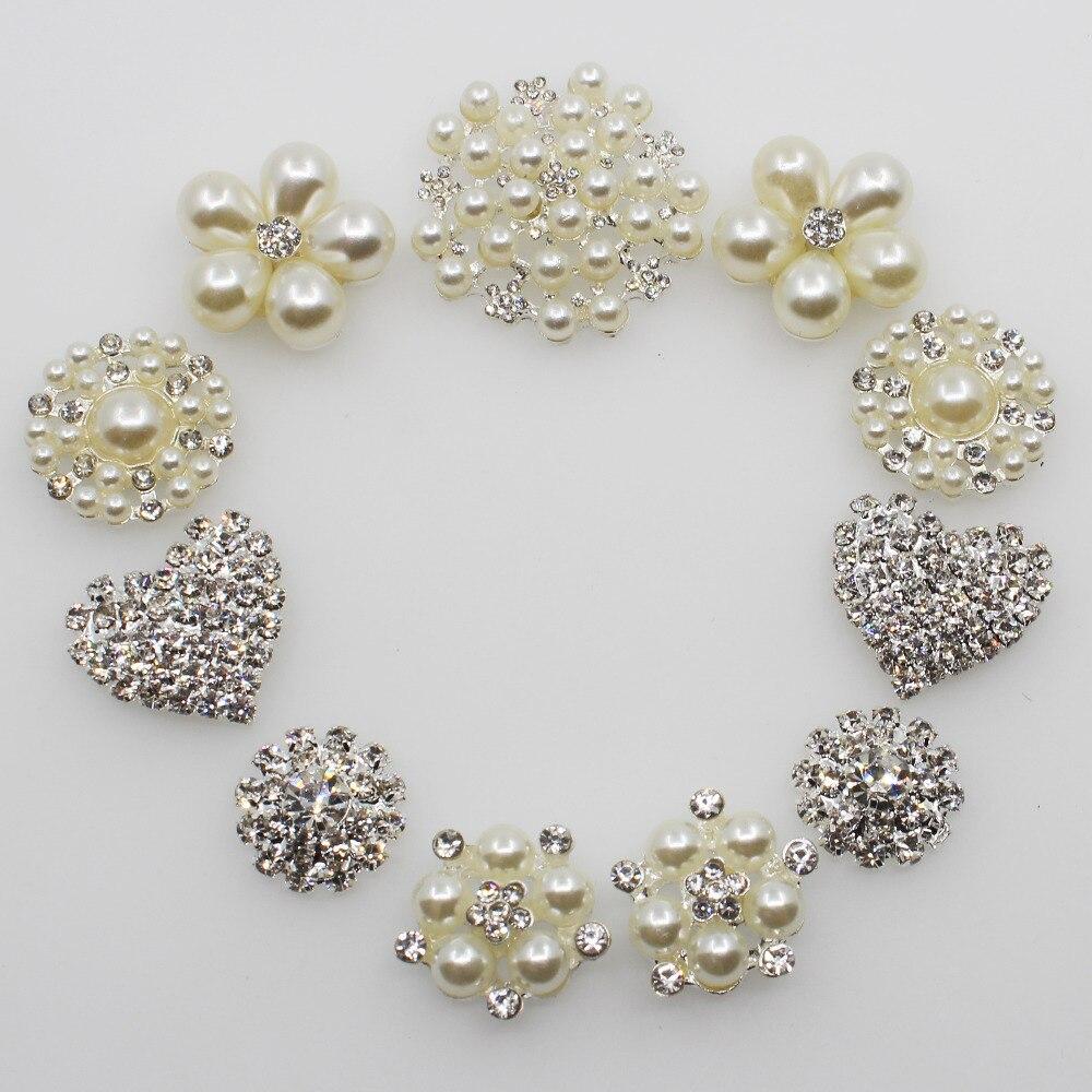 2018 moda 11pc combinación de Plata Perla botones de diamantes de imitación cristal broche invitación boda ramos de novia decorar