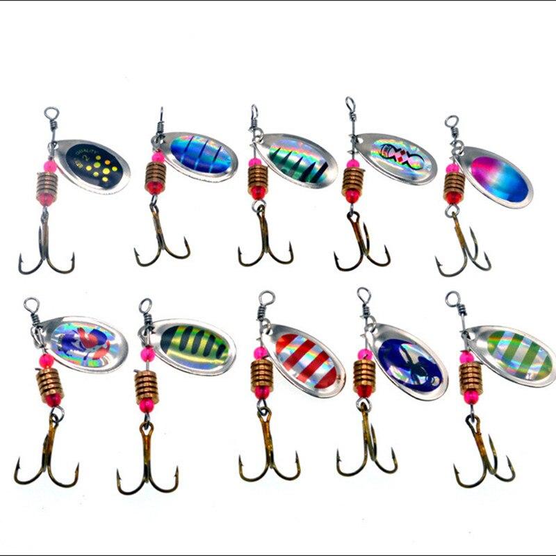 Nuevo señuelo de pesca, cucharas para agitar la mano, cebo compuesto, 10 piezas de rotación, señuelos de Metal Artificial, 3,5g