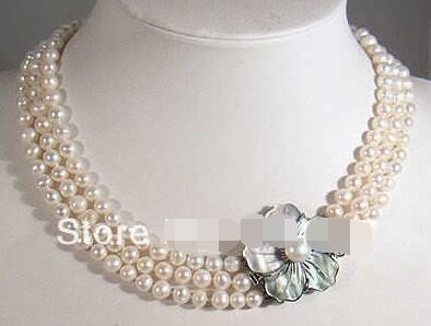 3 filas 7-8mm blanco Akoya collar de perlas Cierre de carcasa> Joyería de mujer envío gratis