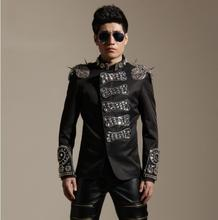 Men Plus punk performance slim jacket bead Rivet badges blazer outerwear dj male singer dancer Epaulet jazz  stage ds costume