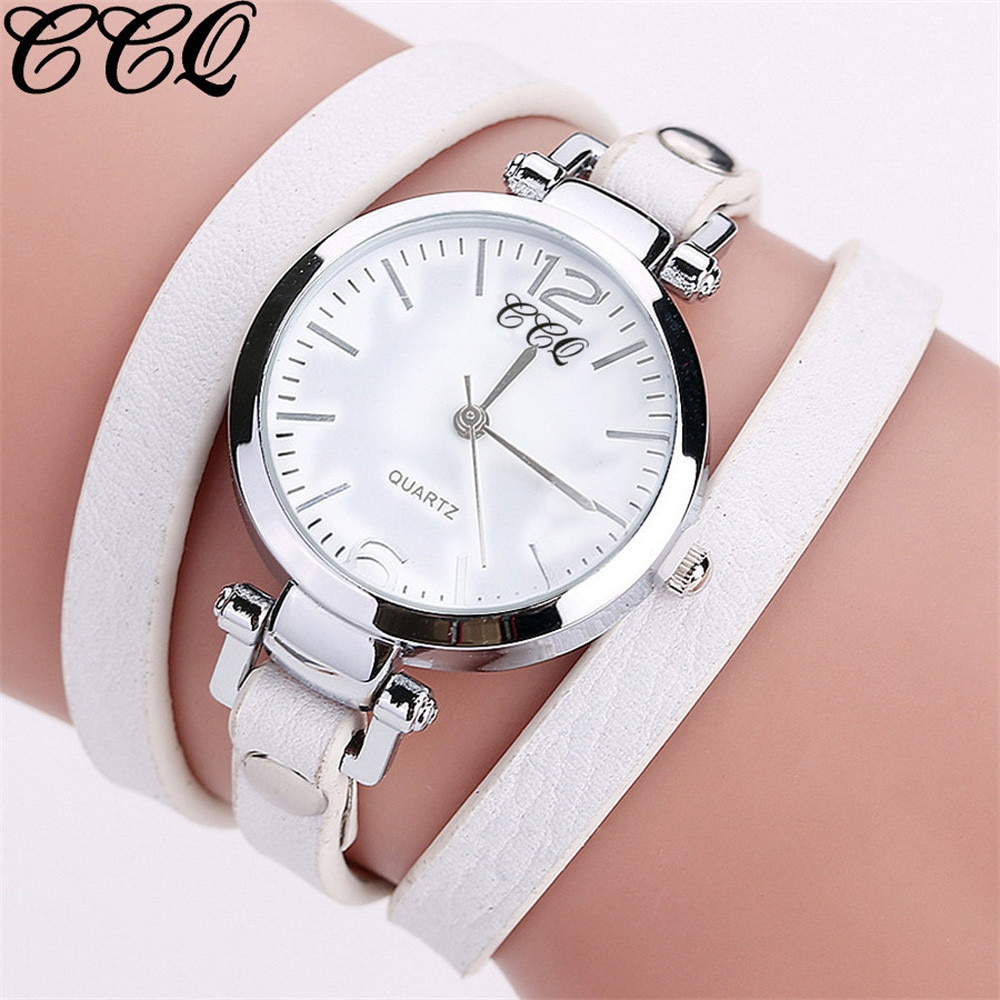 CCQ יוקרה אופנה גבירותיי שעון עור צמיד שעון נשים קוורץ שעון מקרית נשים שעוני יד תכשיטי Relogio Feminino L58