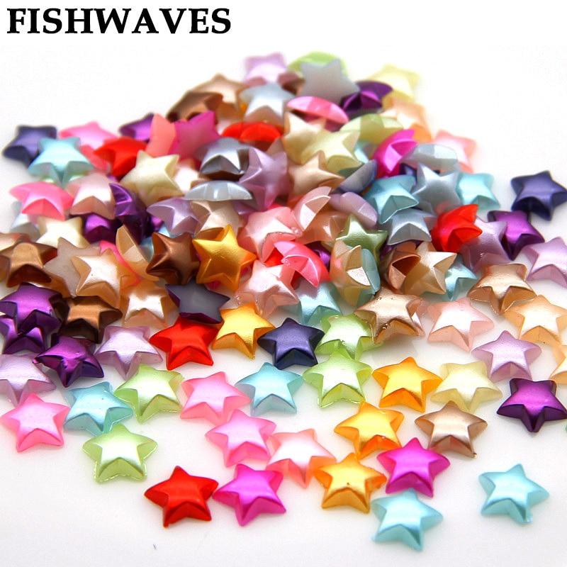 FISHWAVES 200 Uds 10mm cuentas de estrella de media perla DIY decoración para fiesta de boda suministros para manualidades accesorios de cuentas para ropa joyería