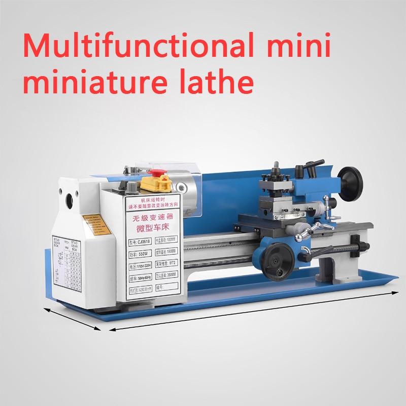 Torno pequeño de 550w, mini torno, máquina de escritorio, 350mm, distancia de procesamiento DIY, procesamiento de madera de metal