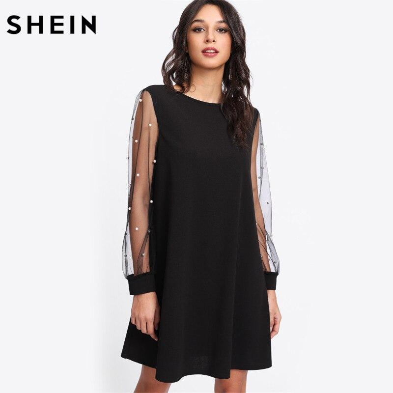 SHEIN Модное Платье С Бусинами Женское Черное Элегантное Платье-Туника С Длинными Рукавами