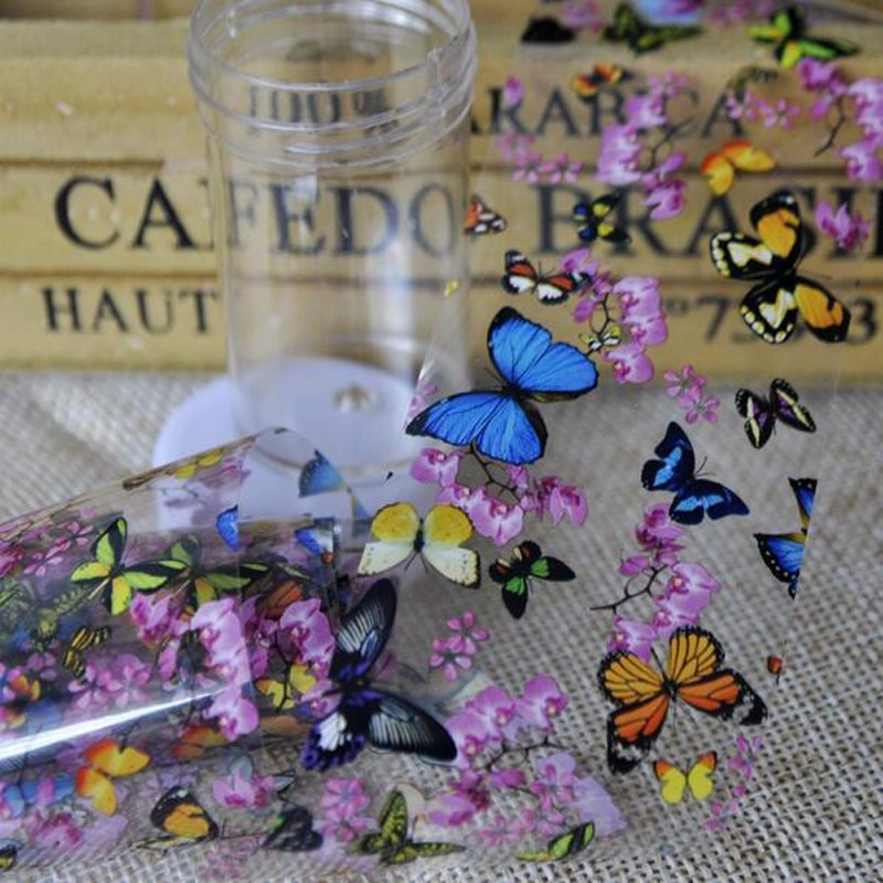 1 Bottle Nail Art Transfer Foils Nail Sticker Tip Decal Decoration Design DIY Butterfly Plum Flower Manicure Tools недорого