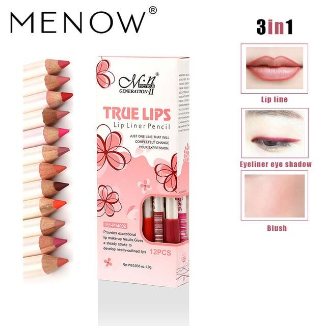MENOW 12 unids/set delineador de labios lápiz impermeable de larga duración delineador de ojos y labios/colorete 3 en 1 herramientas cosméticas de maquillaje lápiz labial