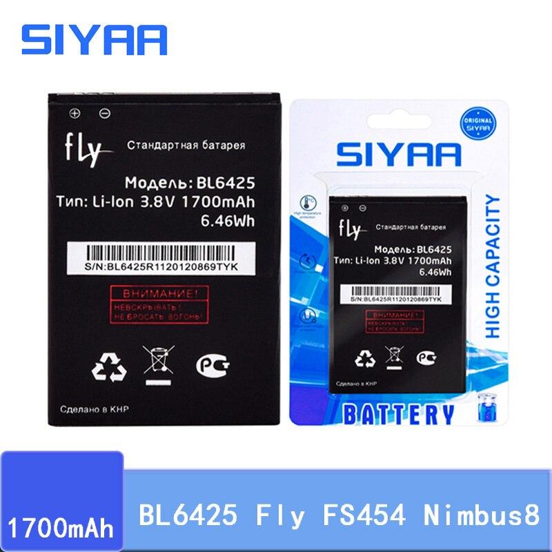Bateria original bl6425 de siyaa para fly fs454 nimbus8 alta capacidade 1700 mah bl 6425 baterias de substituição de polímero de lítio