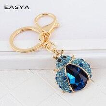 Easya nova chegada de cristal inseto forma chaveiro chaveiro bonito espumante metal chaveiro titular acessórios para meninas das mulheres saco