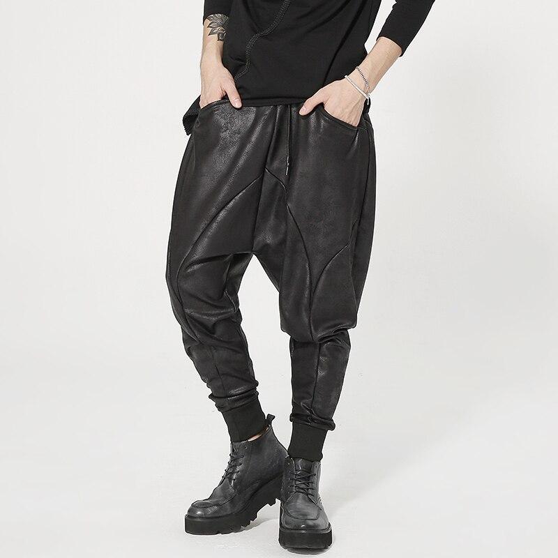 Hip Hop, estilista de pelo, pantalones gruesos de lana con entrepierna baja, pantalones Harem de cuero de imitación para hombre, pantalones de ocio de Club de baile nocturna para DJ A71010