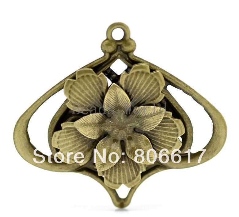 Best Quality 20 Pcs Bronze Tone Filigree Flower Charm Pendants Wraps Connector Jewelry Findings 55x50mm(W03510 X 1)