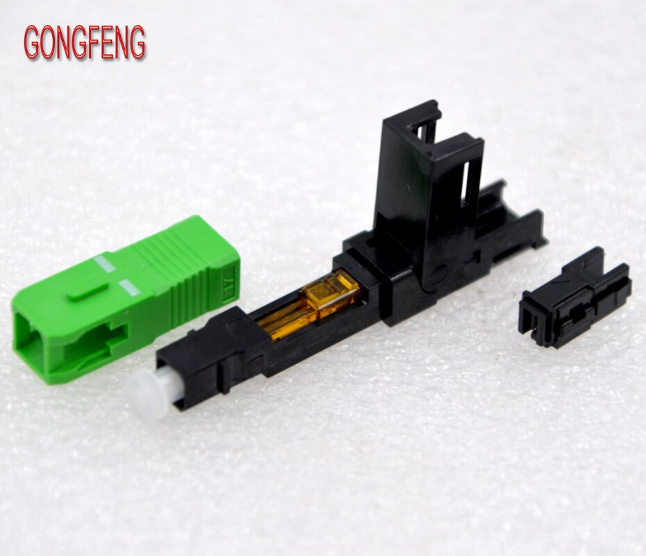 GONGFENG 100 قطعة جديد SCAPC الألياف البصرية موصل سريع FTTH ذاتية الدفع مربع سريع موصل خاص بالجملة