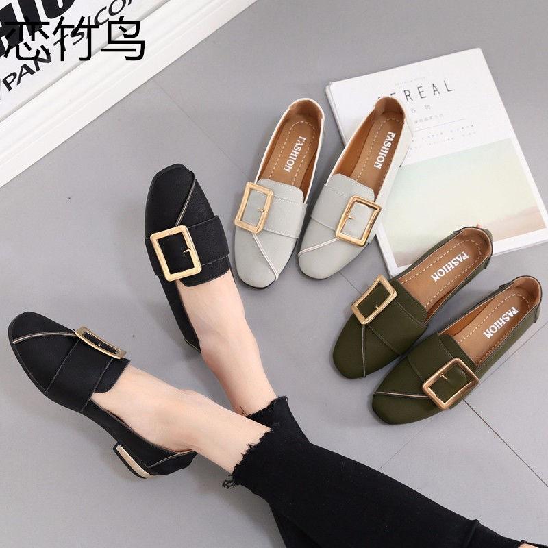 Love bambú bird zapatos individuales mujer otoño Cabeza Cuadrada boca poco profunda zapatos planos Coreanos