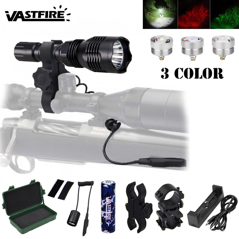 LED טקטי ציד פנס L2 לבן/T6 ירוק/XPE אדום רובה GunTorch + 2 * אקדח היקף הר + מרחוק מתג + 18650 + USB מטען + מקרה