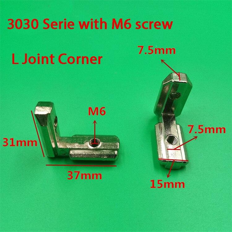 Attache de support de connecteur en aluminium   Fente en T type L 90 degrés 3030 norme européenne série 30/40/45 pièces de profil en aluminium imprimante 3d