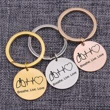 Llavero Keychian con corazón ECG Breathe Live, regalo de amor para la enfermera, hermana, amante, colgante, bolso, abalorio, joyería, etiqueta para llave, 25mm, Color a elegir