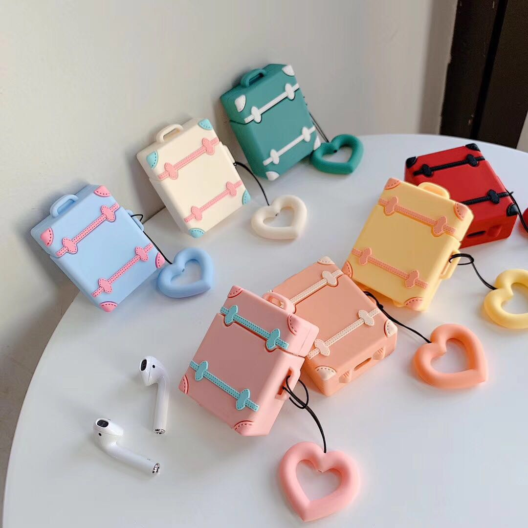 Para funda de AirPods maleta Retro Linda maleta de equipaje para Apple Airpods 2 auriculares cubierta protectora con correa de anillo de dedo