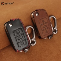 KEYYOU 3BT Leather Flip Car Key Case Cover Fob for VW Volkswagen polo passat golf 4 5 6 jetta tiguan Gol Plus Remote Key Portect
