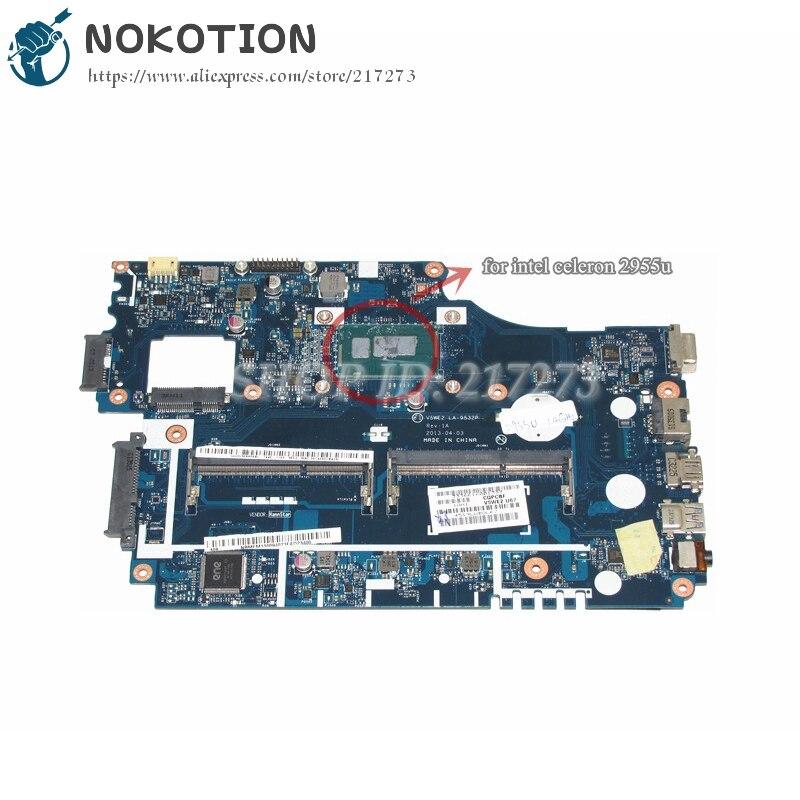 NOKOTION NB MFM11.00A NBMFM1100A V5WE2 LA-9532P ordenador portátil placa madre para Acer aspire E1-532 E1-532P Tablero Principal DDR3L