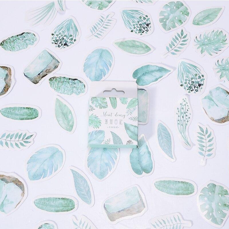 45 unids/caja Kawaii hojas Mini pegatinas de papel para decoración DIY lindo álbum de recortes diario etiqueta pegatina álbum papelería suministros