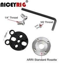 "NICEYRIG Handle ARRI Rosette Mount Adapter Camera Cage Handle Wood Handle Grip Rig 1/4"" M2 Screw DSLR Case Rig VCT Zacuto Arri"