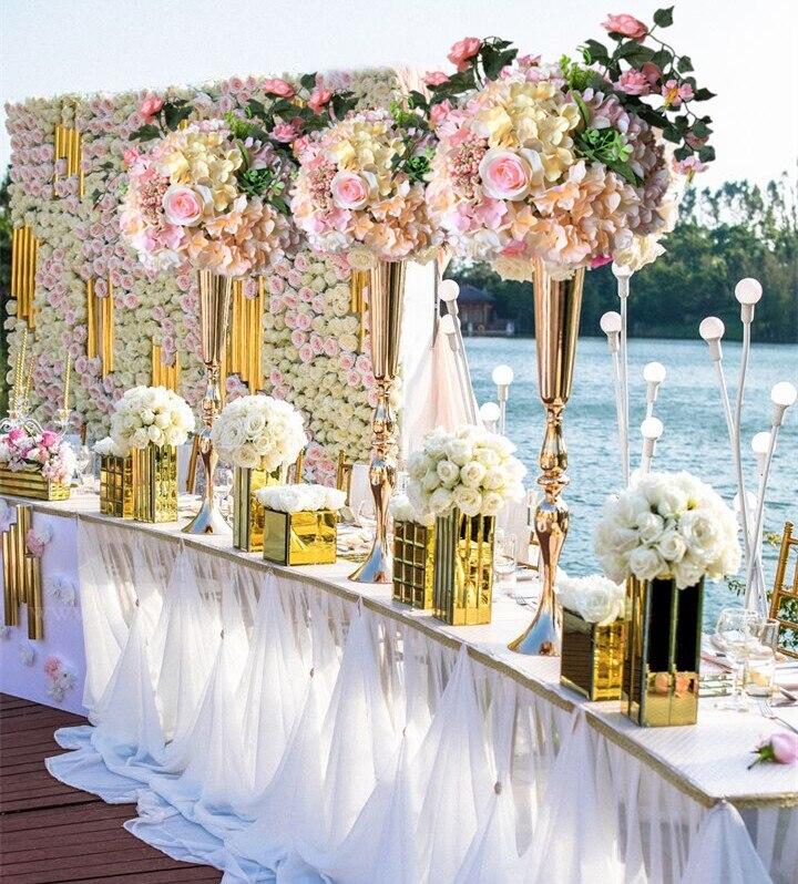 "2017 venta superior 88 cm/34,6 ""oro boda florero MESA CENTRO DE MESA evento accesorios 10 unids/lote"