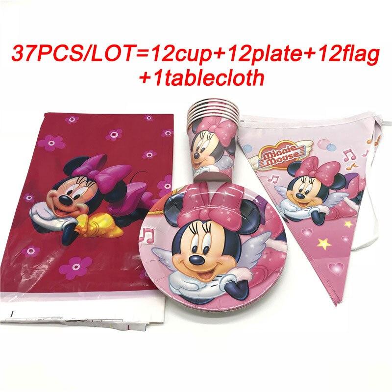 Suministros fiesta de Minnie set para bebé niña 1st suministros de decoración para fiesta de cumpleaños Minnie Mouse vasos desechables placas banner paja