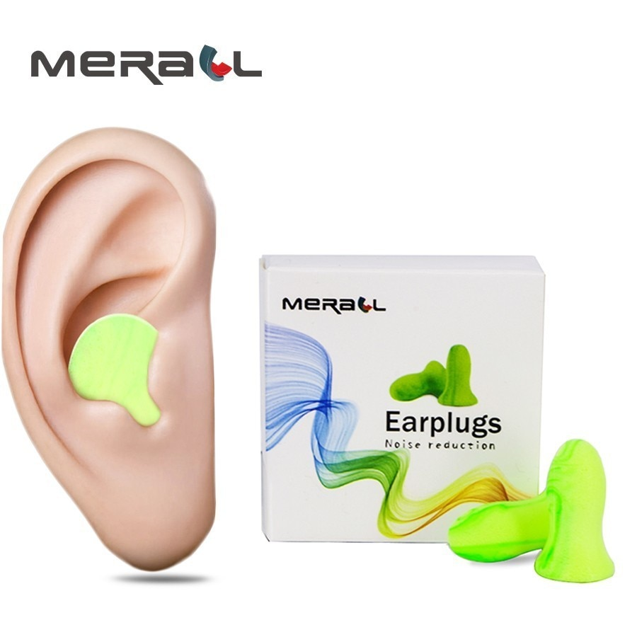 4 unids/caja tapones de espuma suave para los oídos ayuda para el deslizamiento reducción de ruido descanso de viaje tapones de prevención de ruidos para los oídos tamaño insonorizado (pequeño y Grande)
