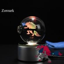 New Fashion Pokemon Go Snap Cute Zoroark 3D Crystal Glass Ball figiure Home Deocoration for Kids