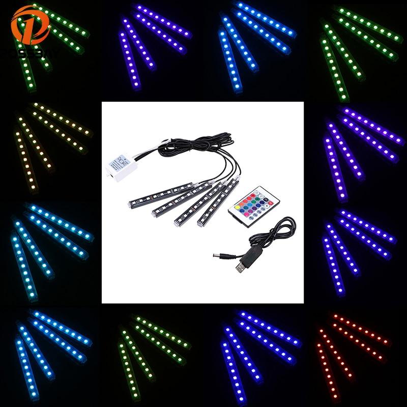 POSSBAY 4x 9/12LED Wireless Remote Control USB Floor Car RGB Neon Interior Lights Lamp Strip Decorative Atmosphere Light