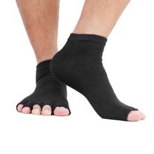 1 paire noir unisexe cinq doigts bout ouvert chaussettes hommes cheville chaussettes pour hommes femmes cheville poignée gymnase Yoga Pilates chaussette