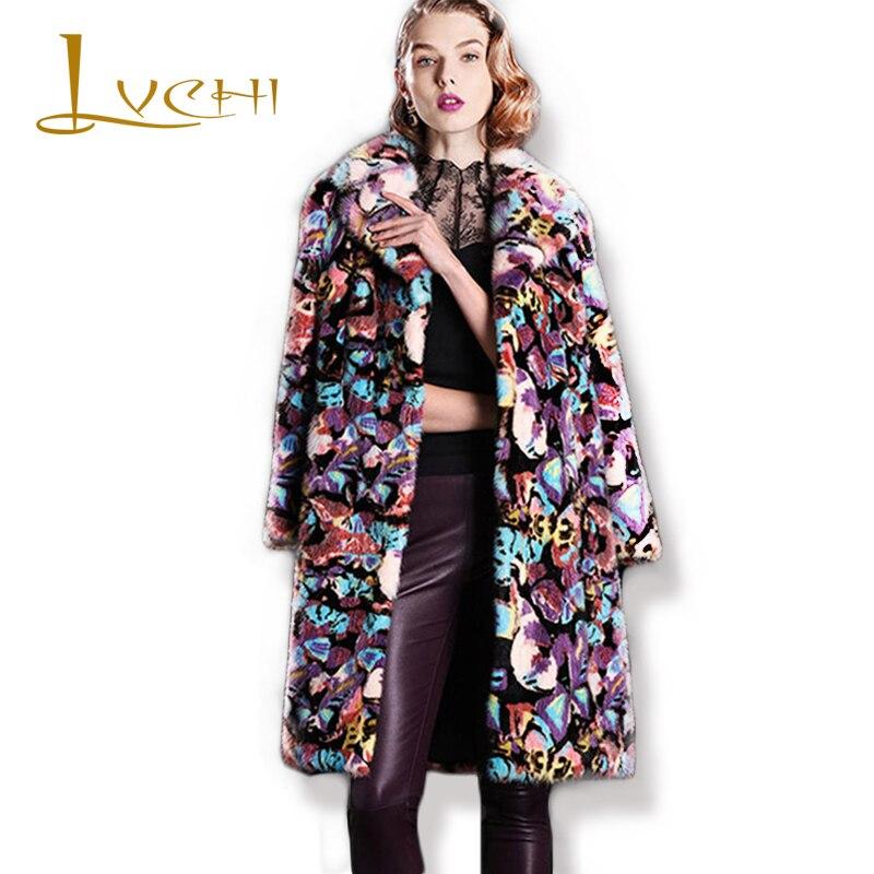 LVCHI 2019 new Flower Pattern Women Winter Mink Coat Fashion Female Boho Casual Visone Warm Fur Bohemian Mink Fur Coats