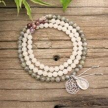 Perles en pierre naturelle de 8mm, fantôme daméthyste, Labradorite, pierre blanche, Chakra, ensembles JapaMala, bijoux spirituels, méditation, perles de 108 Mala