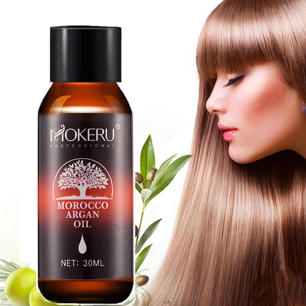 Óleo essencial do tratamento do óleo de argan de marrocos para cuidados com o crescimento do cabelo mokeru 1pc 30ml soro orgânico natural do cabelo que alisa o cabelo seco