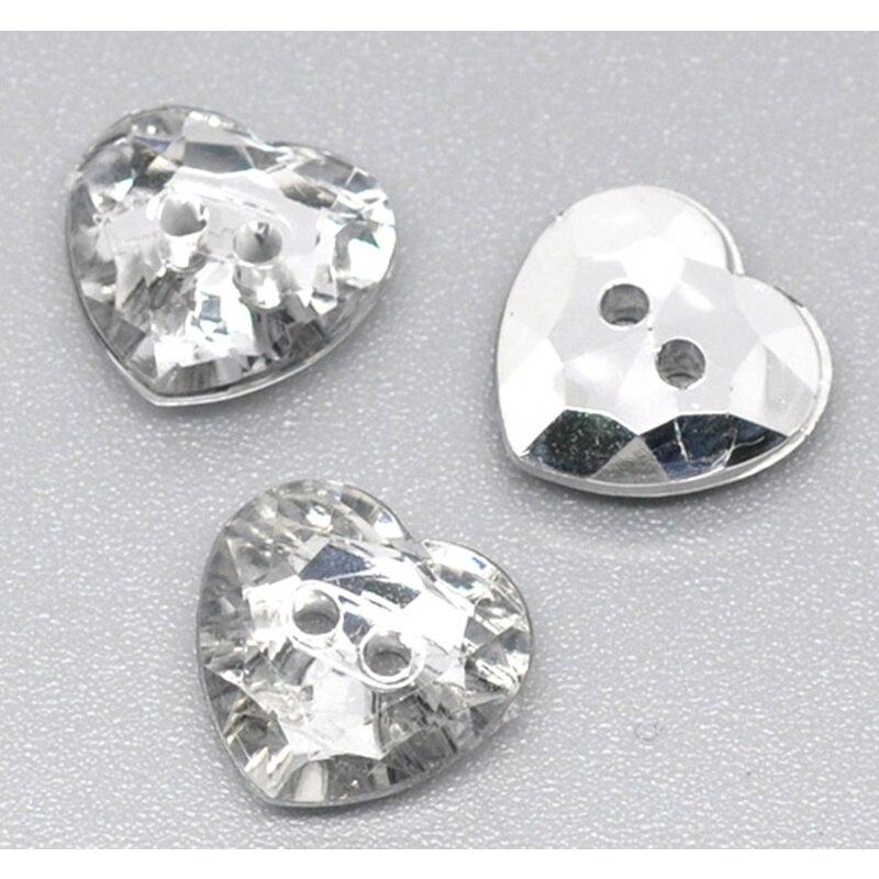 DoreenBeads 15 Uds botones de acrílico 2 agujeros respetuoso con el medio ambiente Diamante de imitación transparente forma de corazón accesorio de la ropa 12*12mm