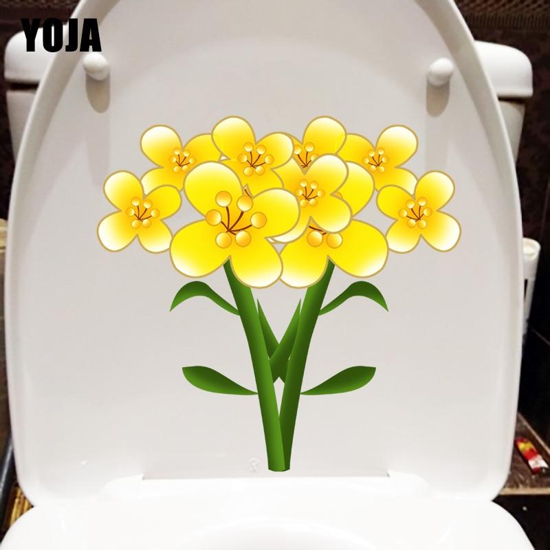 YOJA 22.7*22.1CM Yellow Canola Flower Plant Home WC Toilet Sticker Room Wall Decor T1-1124