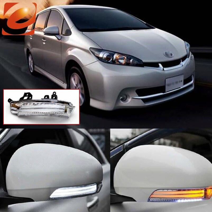 EeMrke para Toyota Wish ZGE2 2010 2011 2012 espejo retrovisor lateral luces LED señales de giro DRL luces de tierra irradiadas