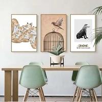 Affiche dart mural de decoration pour la maison  toile imprimee  paysage nordique  animaux  hibou  elephant