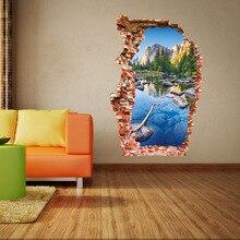 Wucaichi-autocollant mural 3D coloré   Autocollant mural, paysage de montagne, trou cassé, bâton de porte, AW3024