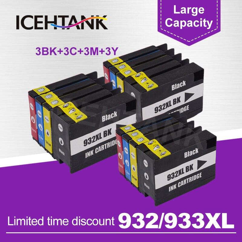 ICEHTANK cartouche dencre rechargée Compatible pour HP 932 933 932XL Officejet 7110 7610 6600 6700 6100 7612 imprimante avec puce