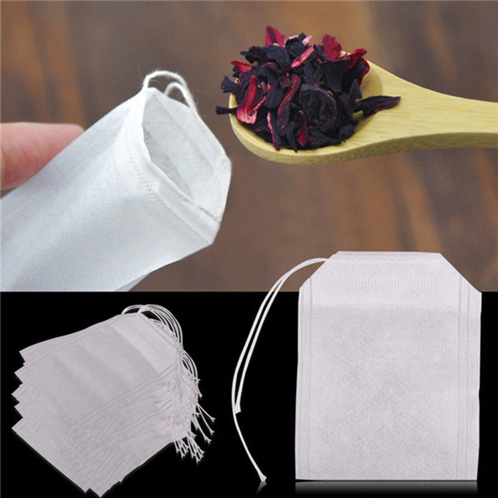 Sachets de thé vides parfumés avec cordon   100/50/ 20 pièces-paquet de sachets de thé 5.5x7CM, papier filtre pour herbe libre