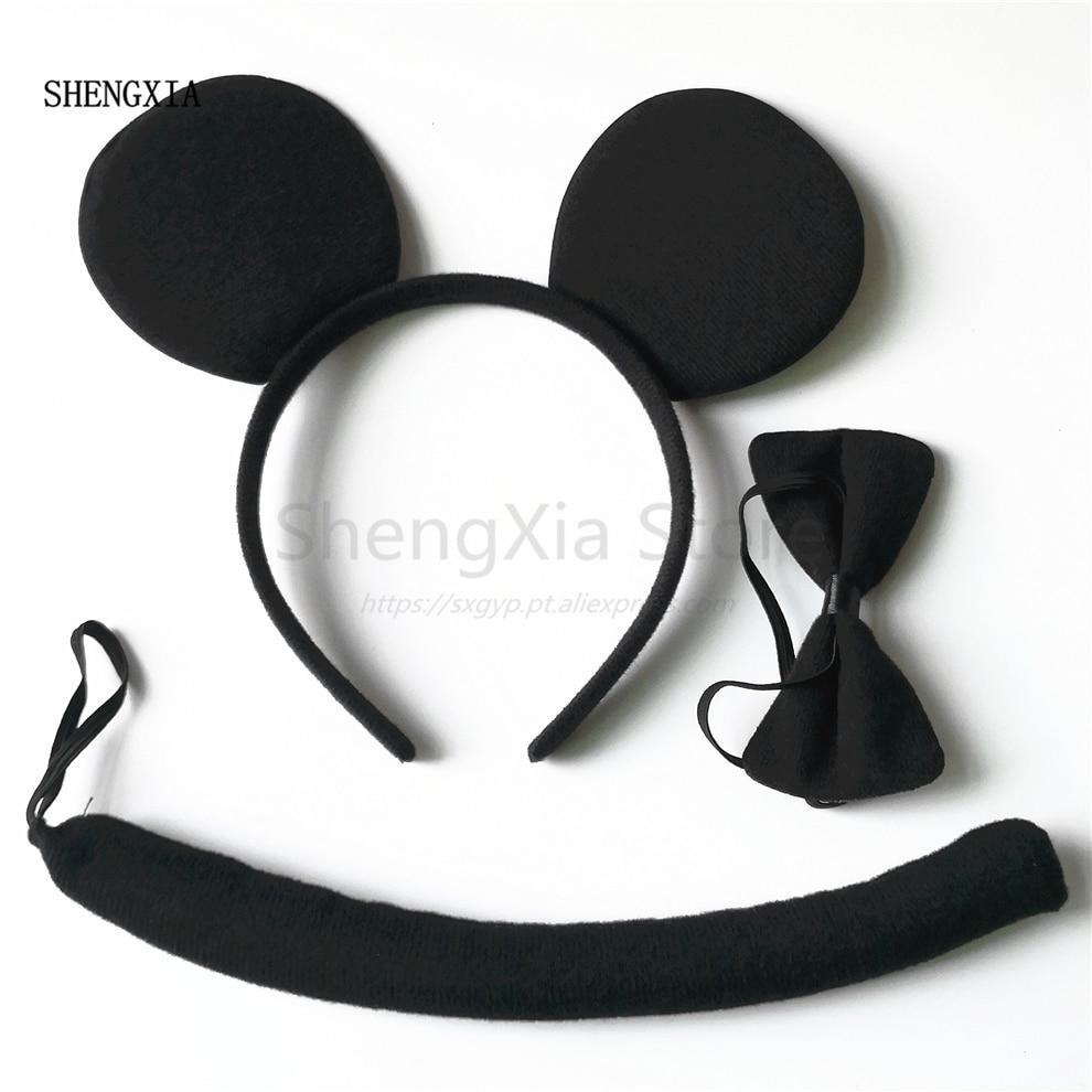 Новые черные уши, три части, Хэллоуин, бант, уши, повязка на голову, вечерние, для взрослых, для детей, для выступлений, головной убор, аксессуа...